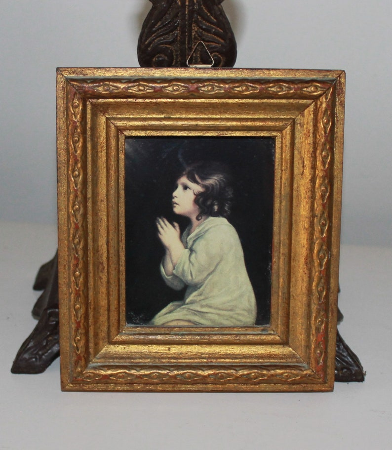 39815aac18c Vintage Florentine Style Gold Frame Picture Little Girl