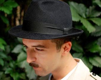 Mens hat black felt winter autumn small brim hat fedora trilby hat