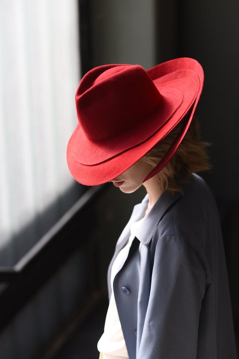 Women red felt fedora wide brim hat Millinery winter autumn