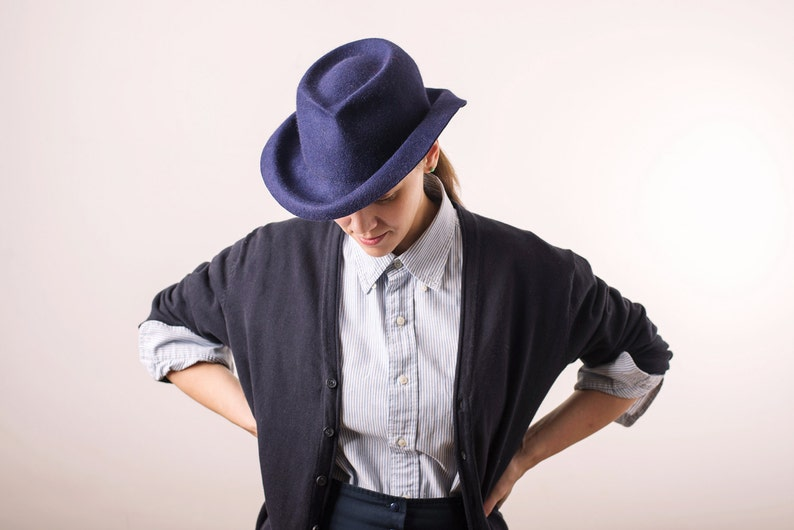 66ea1b9b132 Women redesigned FEDORA HAT Handmade navy blue felt winter