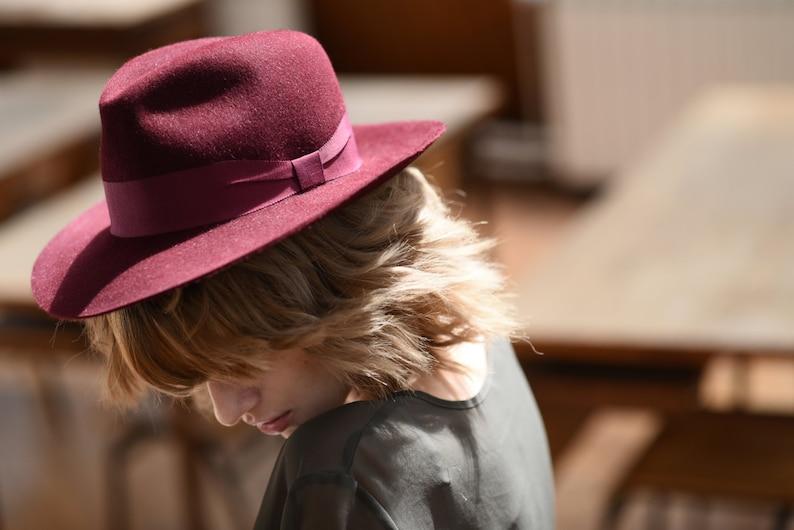 2cde8f535 Fedora, Hat for Women / Men dark red felt fedora small brim hat /  Millinery- spring handmade burgundy hat / Wedding hat