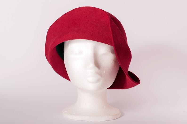 cloche vintage style handmade hat gatsby style women hat Winter hat Dark Red felt hat