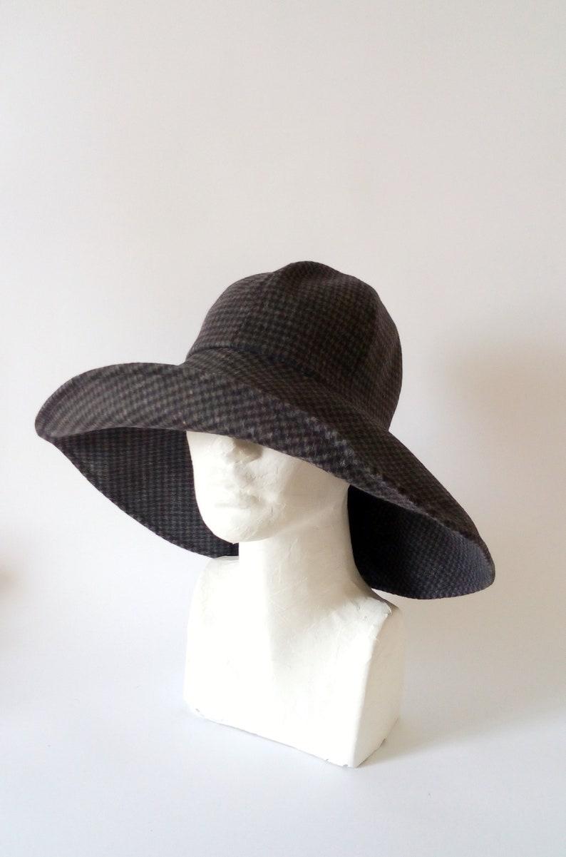 3e68b13111 Women Winter hat/ wide brim boho grey woolen hat with flexible | Etsy