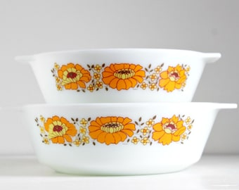 Vintage 1970s JAJ Pyrex Sunflower Casserole Dishes