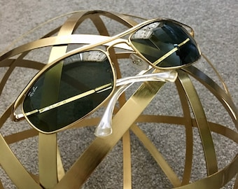 0d533d0fe1 Vintage Ray-Ban Luxottica Olympian RB3119 Gold Polarized Crystal Green Lens Sunglasses  with Case