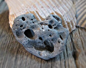 Hag Stone Heart with String, Protection Talismen, Holey Adder Stone, Witchcraft Supply, Odin Fairy Seer Stone, Pagan Alter Decor, Beach Rock