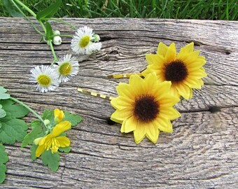 Sunflower Hair Pins, Sunflower Bobby Pins, Silk Flower Hair Pins, Floral Hair Pins, Flower Bobby Pins, Wedding Bridal Prom Hair Accessories