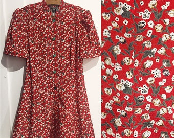 ad2a29ad761 Vintage red ditsy floral tea dress - 1930s 40s style