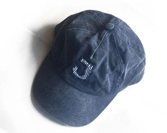 Baseball cap letter J navy acid denim cap with hand stitched  66efe999430