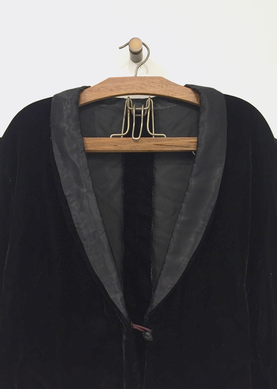 Vintage 1920s Style Black Velvet Jacket Cropped