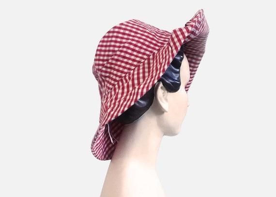 Red Gingham Vintage Bucket Hat Wide Brim