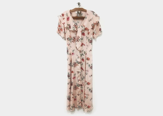 Pink Floral Tea Dress 1990s does late 1920s