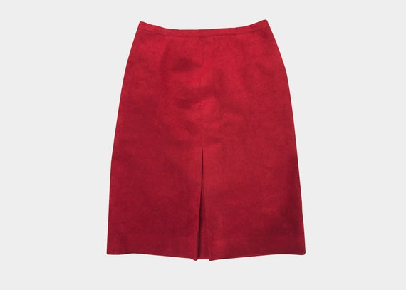 Vintage Red Suede High Waisted Skirt M