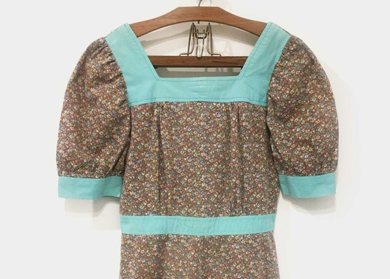 1970s Handmade Prairie Dress Ditsy Floral Mini - image 2
