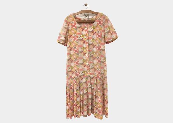 Patchwork Mid Length Dress 1980s Medium