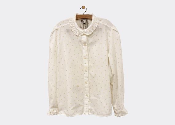 White Ruffle Collar Blouse XL