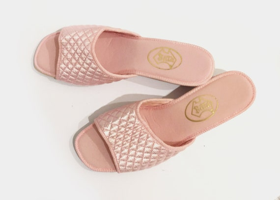 Pink Quilted Mules Slides Shoes Vintage 1980s