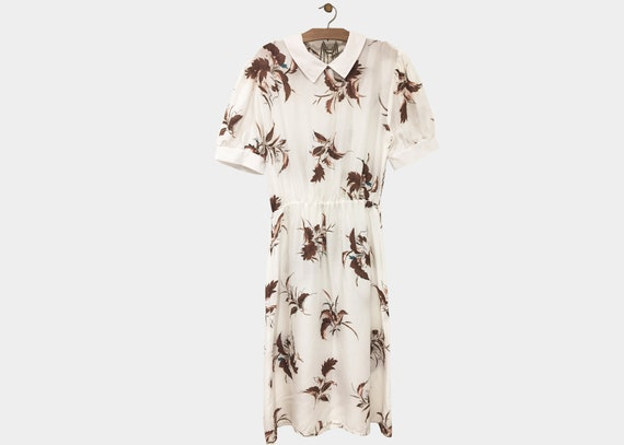 Cream Folk Cotton Dress Puff Sleeves M L