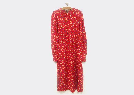 Vintage Red Ditsy Maxi Length Dress Viscose Long S