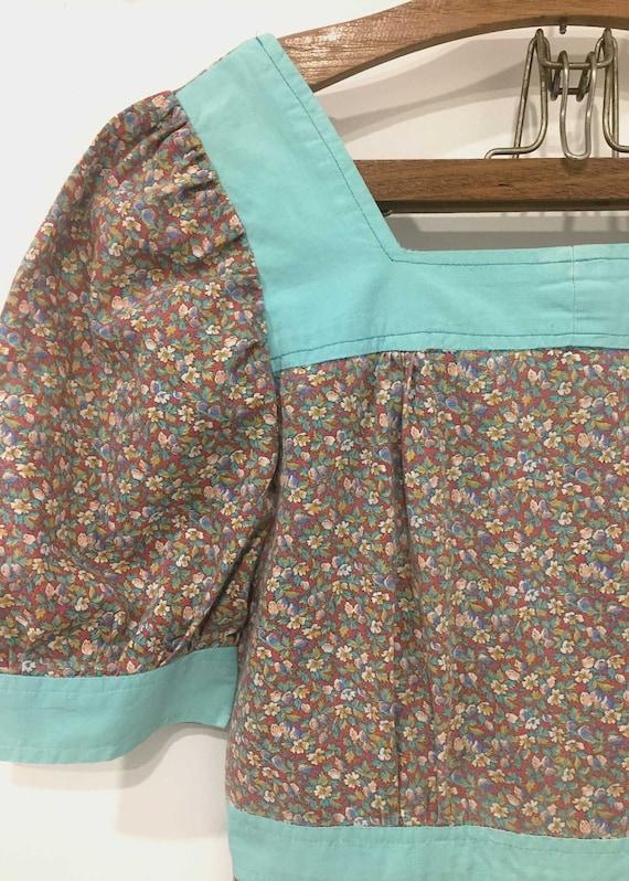 1970s Handmade Prairie Dress Ditsy Floral Mini - image 3