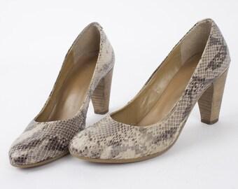 US7.5 Vintage Beige Partial SuedeLeather Heels Retro 70s Pumps Block Heel Womens Shoes EU38 UK5.5 US7.5
