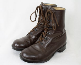 24c885b49c 1950 Vintage Army WWII War Paratrooper Boot Lace Up 12 Eyelets Dutch  Infantry Military Brown Boots EU40   US6.5   UK6 for Men