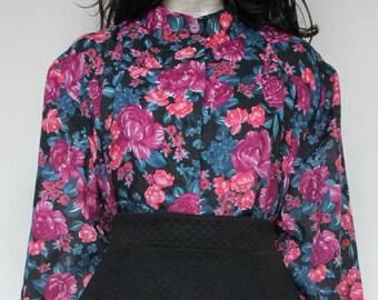 70s Vintage Black Cyan - Pink - Purple Lustful Blouse for Women