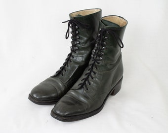 23c1363efe7 4US Vintage 80s Italian Dark Green Leather Lace Up Ankle Boots for Women  35EU 2UK 4US