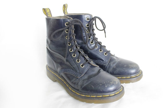 Navy Blue Leather Boots