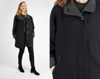 1970s Vintage Grey Loden Winter Thick Pure New Wool Longcoat Greatcoat Overcoat Autumn Winter for Women