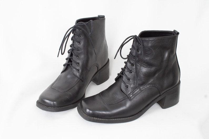 7d12d4e462fb8 US6 Vintage Black Leather Festival Hippie Ankle Boots for Women size EU37 /  UK4 / US6