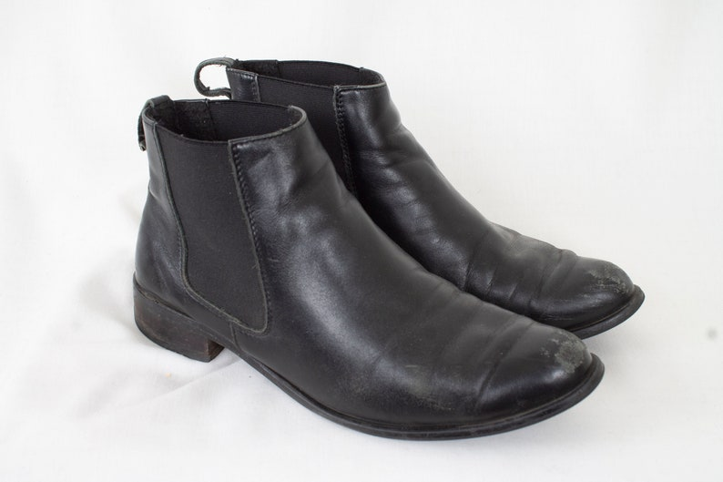 ccb6a4daafc26 US6 Vintage Black Chelsea Leather Festival Hippie Elegant Ankle Boots 90s  for Women size EU37 / UK4 / US6