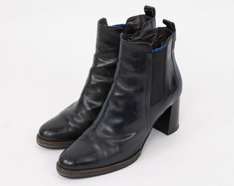 US8.5 Vintage Black Maripe Made in Italy Block Heels Chelsea Leather Festival Zipper Ankle Boots for Women size EU 39.5 UK 6.5 US 8.5