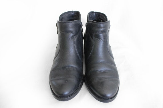 4bc1402a4e98d 80s Vintage Black Booties Zipper Leather Ankle Boots for Women size EU36 /  UK3 / US5
