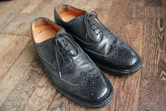 1980 Vintage Leather Van Lier Black Brogue Shoes for Men EU41 US7.5 UK7