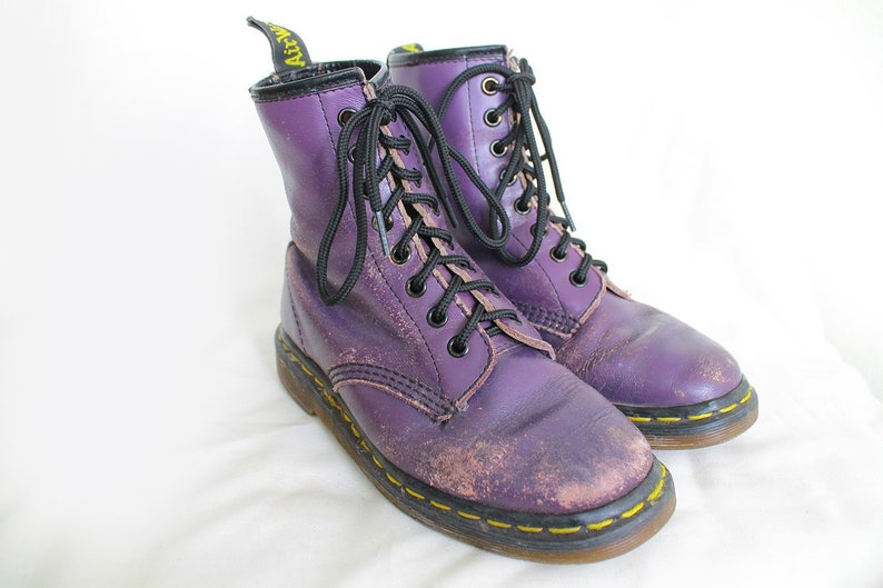 e72b565101ca1 US5 Vintage Dr Martens Purple Leather Doc Martens Boots Womens | Etsy