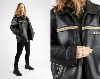 1980s Vintage Black Leather Heavy Motorcycle Jacket Destroyer Authentic Badass Sturdy for Women or Men