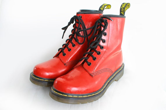 US6 Dr Martens Vintage 1460 Red Leather Doc Martens Boots EU37 US6 UK4 for Women