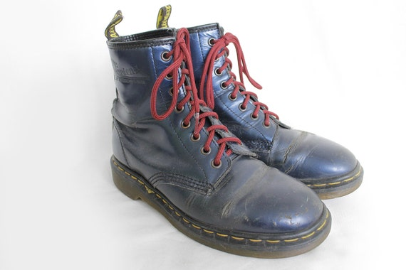 US8.5 Dr Martens Vintage Shiny Blue Leather 1460 Doc Martens