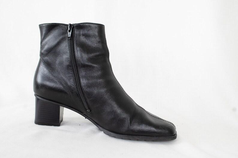 US9 Jenny by Ara Vintage Black Leather Festival Hippie Zipper Ankle Boots for Women size EU39.5  UK7  US9