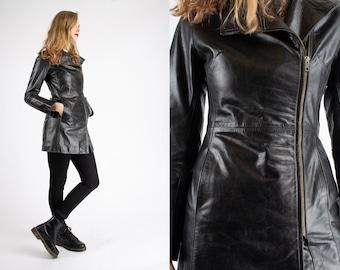 1980s Vintage Rare Black Fitted Coat Jacket Jo de Grey Paris Authentic Sturdy Leather for Women
