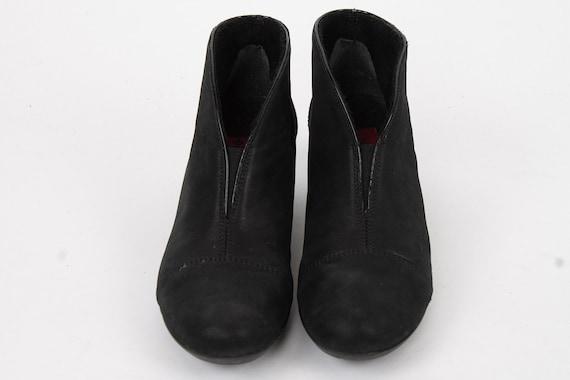 US6.5 Vintage Black Faux Leather Buckle Brogue Small Heels Festival Hippie Zipper Ankle Boots for Women size EU 37 UK 4.5 US 6.5