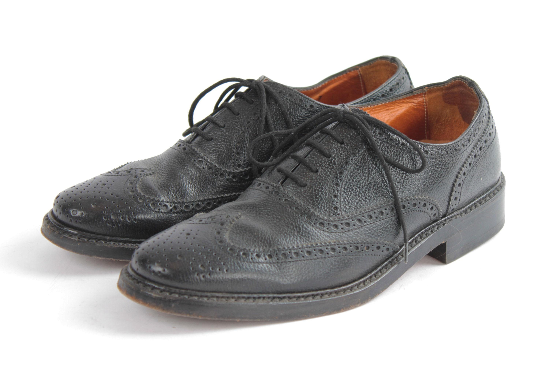 1980 Vintage Leather Mens Classy Gentleman Brogues Van Lier Black Brogue EU40.5 US7.5 UK7