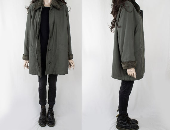 1970s Vintage Olive Green Longcoat Coat Trench Top