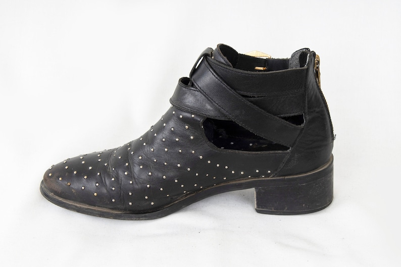 US7.5 Vintage Black Pepe Jeans Leather Belted Hippie Festival Boots for Women size EU38  UK5.5  US7.5