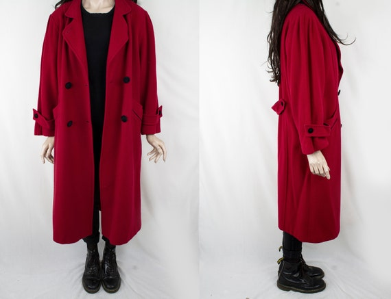 1970s Vintage Red Thick Wool Winter Coat Topcoat G