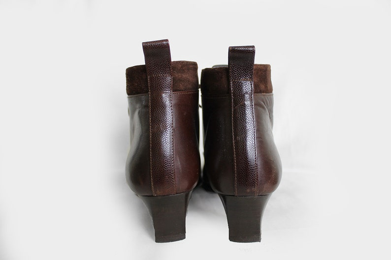 319715a43be69 90s Vintage Brown Leather Partial Suede Festival Hippie Elegant Ankle Boots  for Women size EU37.5 / UK4.5 / US6.5