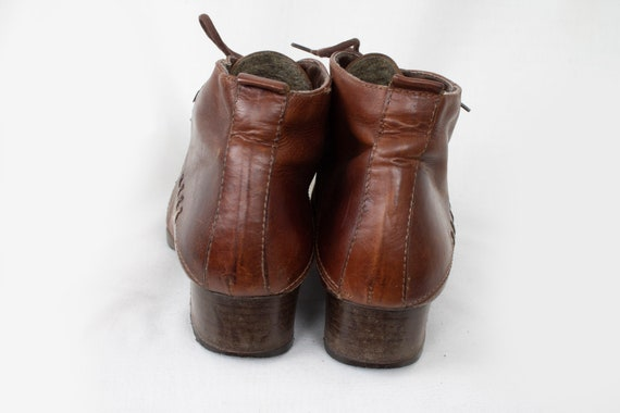 cf45315fd5f5e US9 Vintage Dolcis Cartini Patched Look Brown Leather Mid Booties Ankle  Boots UK7 EU40