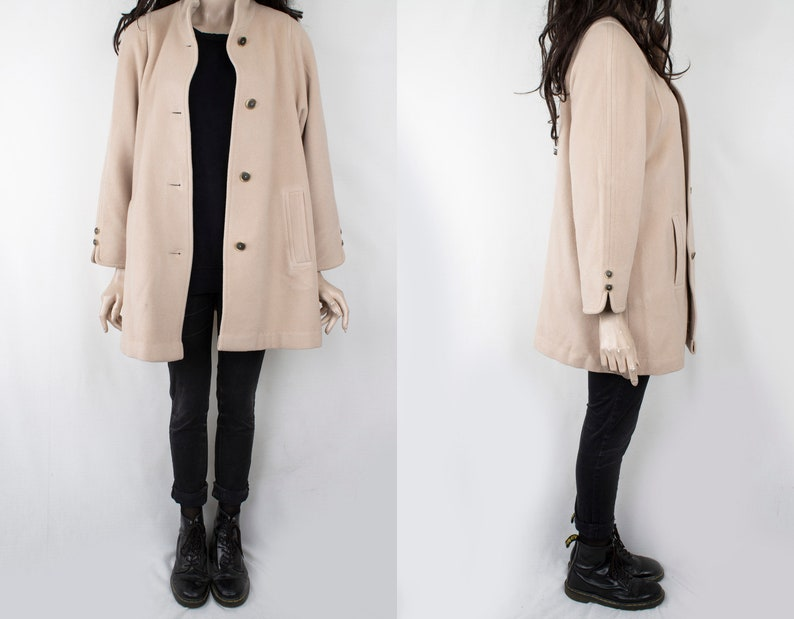 1980s Vintage Beige Winter Double Breasted Coat Heavy Wool Loden Winter Sturdy Topcoat Greatcoat Jacket for Women