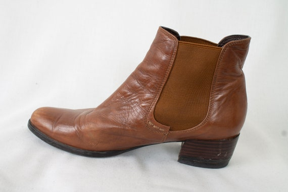 cd481945523a5 US6.5 Vintage Brown Chelsea Leather Festival Hippie Elegant Ankle Boots 90s  for Women size EU37.5 / UK4.5 / US6.5